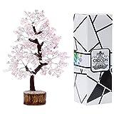 Crocon Rose Quartz Gemstone Money Tree Feng Shui Bonsai for Reiki Healing Chakra Stone Balancing Energy Generator Spiritual Meditation Home Interior Office Decor Size 10-12 Inch
