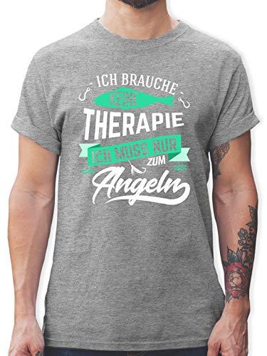 Angeln - Ich Brauche Keine Therapie Angeln - M - Grau meliert - L190 - Tshirt Herren und Männer T-Shirts