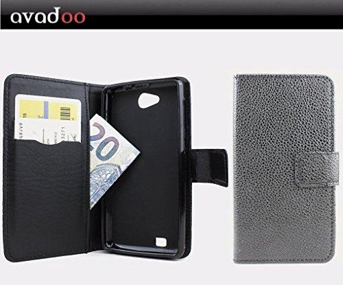 avadoo® Medion Life E4503 Flip Hülle Cover Tasche Schwarz mit Magnetverschluss & Dualnaht als Cover Tasche Hülle