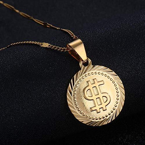 Color dorado Rock Hip Hop Dólar estadounidense Símbolo de dinero Signo Colgante redondo Collar Cadena de moda Joyería