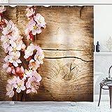ABAKUHAUS Floral Rideau de Douche, Spring Blossom Orchard, Tissu Ensemble de Décor de Salle de Bain avec Crochets, 175 cm x 200 cm, Sable Marron pâle Rose