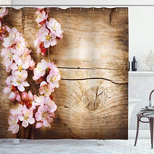 ABAKUHAUS Blumen Duschvorhang, Spring Blossom Orchard, Waschbar & Leicht zu pflegen mit 12 Haken Hochwertiger Druck Farbfest Langhaltig, 175 x 240 cm, Sand Braun Hellrosa