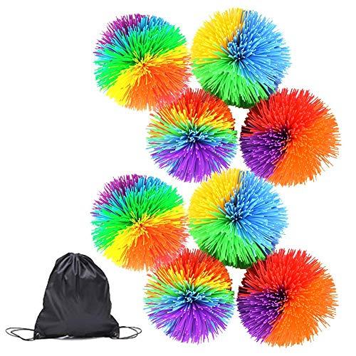 8 confezioni scimmia filante Balls sensoriale giocattolo stress palle Arcobaleno Pom Bouncy Balls stress con coulisse Borsa, multicolore s Giocattoli regalo di compleanno for i bambini delle ragazze d