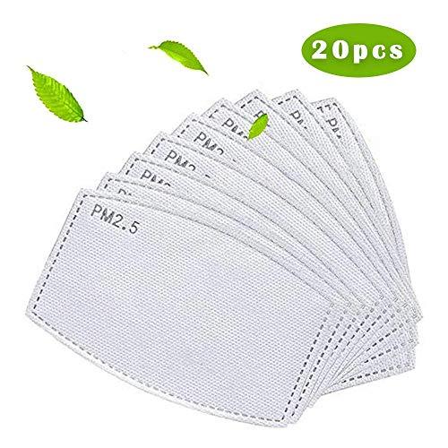 20 filtros reemplazables de carbón activado PM2.5 de repuesto para adultos, filtro de protección universal no tejido, filtro protector de respiración para mujeres y hombres