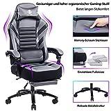 KILLABEE großer Memory Foam Gaming Stuhl - Einziehbare Fußstütze Ergonomische