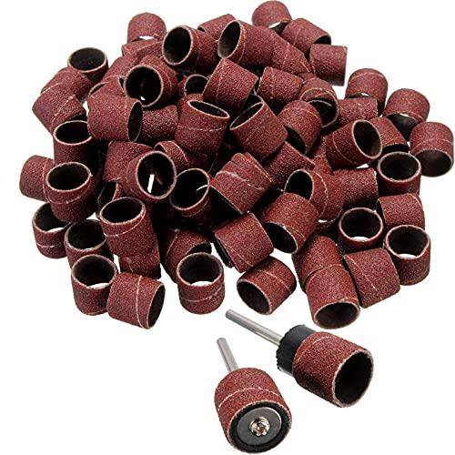 42 piezas de mangas de banda de lijado de uñas y amp;Kit de tambor, mandriles de 3,2 mm, mini taladro, herramienta abrasiva para accesorios de herramientas rotativas Dremel, 42 piezas 6,35 mm, grano