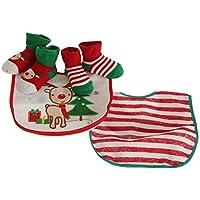 Nursery Time - Conjunto navideño de baberos y calcetines para bebé (Talla Única/Blanco/verde/rojo)