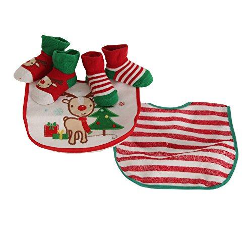 Nursery Time - Set regalo di Natale con La Renna Rudolph per neonati (Taglia unica) (Bianco/Verde/Rosso)