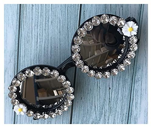 WWWL Gafas de Sol Mujeres Gafas de Sol Cristal Diamante Hecho a Mano para Gafas Redondas Lente Diseño de Flores de Flores de Verano Gafas de Sol (Lenses Color : C1)