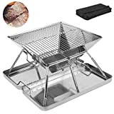 Your's Bath Barbecue Grill, Foldable Portable <span class='highlight'>Charcoal</span> BBQ Grill Mats Reusable Mesh Stainless Steel Grill Rack and Carry Bag for Outdoor Picnic Camping Balcony