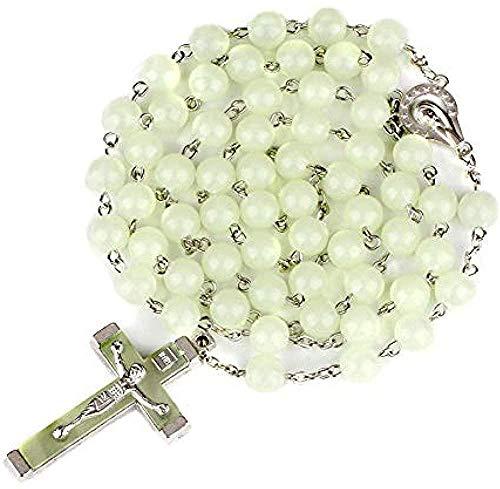 Collar 8Mm Luminoso Cruz Cristiana católica Rosario Collar Luz Brillante en la Oscuridad Collares de Rosario con Cuentas para Hombres Mujeres