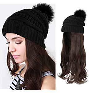 AynnQueen Beanie with Hair Attached for Women Slouchy Cable Hat Wig Knit Beanie Winter Hat with 20inch Removable Hair Extensions Wig (Medium Brown-Black Hat)