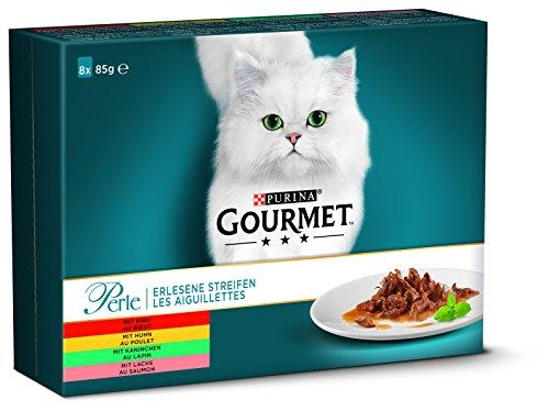 PURINA Gourmet Comida húmeda para Gatos en Tiras de Perle, variedades, Paquete de 10 (10 x 8 Bolsas de 85 g)