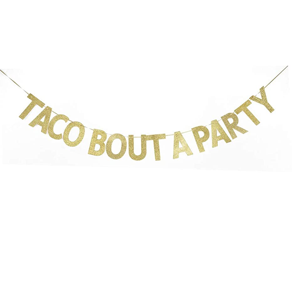 Taco Bout A Party Banner, Gold Glitter Bling Bling Garland Mexican Theme Party Decorations Bunting Photo Booth Props Signs