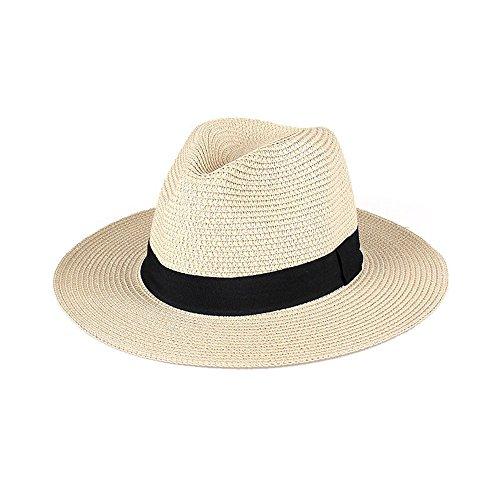 LMYZ Yxsd Zonnehoed, Heren Zomer Reizen Vakantie Strandhoed Inklapbaar Brede Golven Zon Panama Straw Hoed, Zonnehoed