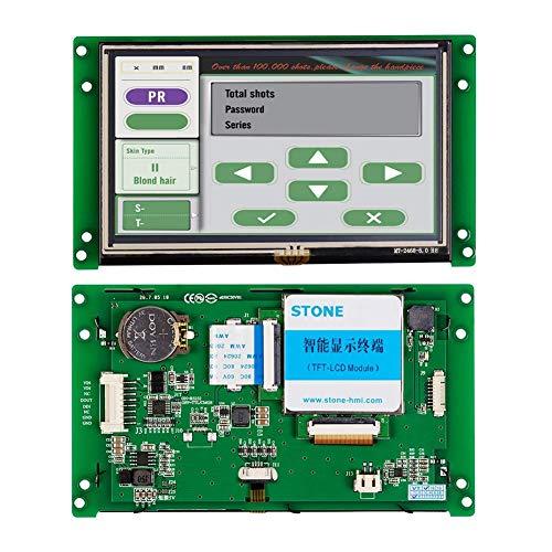 SCBRHMI 5 Zoll HMI Touchpanel, Smart TFT LCD Display mit Controller + Programm+ Touchscreen Steuerung + Metallrahmen