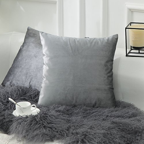 Home Brilliant 2 Pack Velvet Cushion Covers Throw Pillow Cover Set Decorative pillowcase for Sofa Couch Bed, 18x18 inches,Gun Metal Grey
