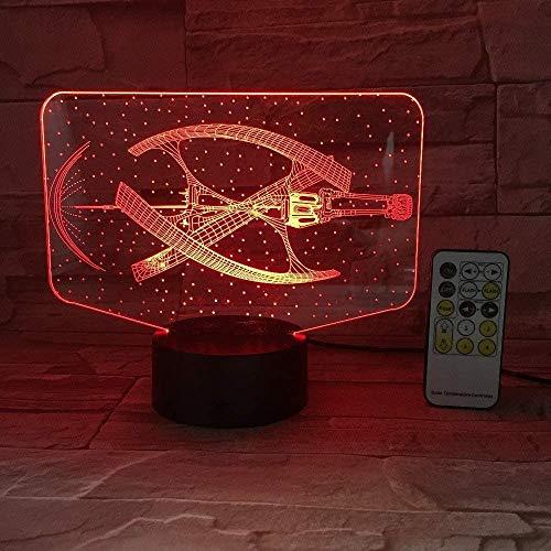 3D Illusion Night Light Space Ship Abstract 7 Colores Led Touch Table Lamp Con Control Remoto Usb Cable De Alimentación Control Para Niños Cumpleaños Navidad Valentine S Day Gift