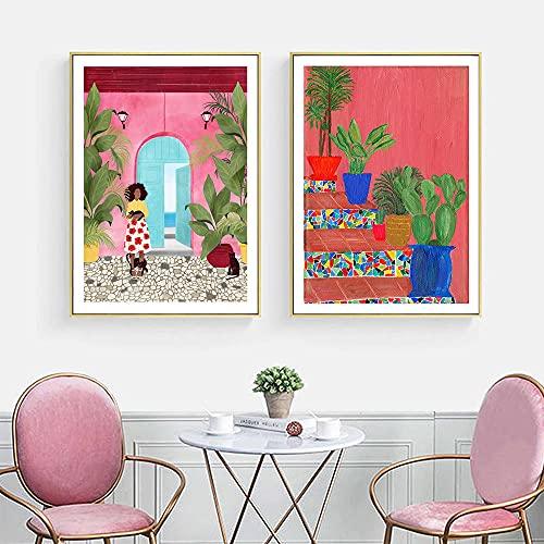 Nórdico abstracto Florero Arte de la pared Carteles Cartagena Life Imágenes Impresiones en lienzo Pintura Arte Pasillo Sala de estar Dormitorio Decoración única/40x60cmx2 Sin marco