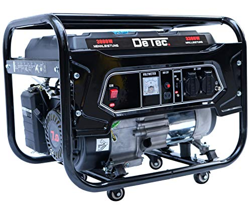 DeTec -Generador eléctrico de gasolina, genera corriente de 3,3kW/3300W 230V,...