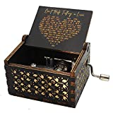 VACTER Can't Help Falling in Love Wood Music Box, Antique Engraved Musical Boxes Case for Love One Wooden Music Box - Gifts for Lover, Boyfriend, Girlfriend, Husband, Wife (Black)