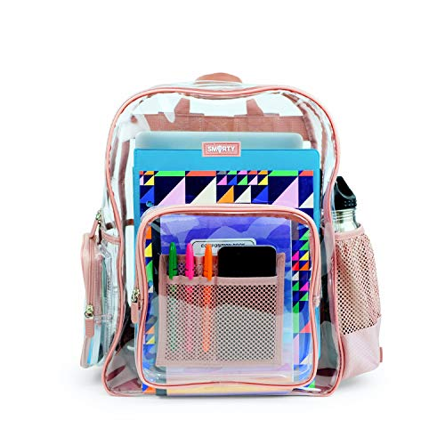 Heavy Duty Clear Backpack Durable Military Nylon Clear Bookbags Transparent See Through Plastic School Work Bag (Medium, Pink)