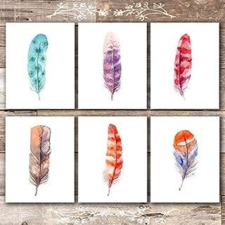 Feather Wall Art Prints (Set of 6) - Unframed - 8x10s | Rustic Decor Wall Art