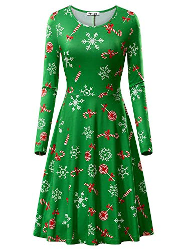 VETIOR Snowflake Dress for Women, Womens Christmas Pattern Candy Cane Print A-Line Midi Dress Green&Candy XX-Large