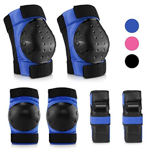 IPSXP Protecciones Patines, Almohadillas para Rodillas Codo Muñeca Niños Adolescente Seguridad en la Protecciones para Monopatín, Skate, Patines, Patinaje, Scooter, Bicicleta (L)