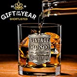 English Pewter Company Bicchiere da whisky in vetro di whisky per il 40 ° compleanno o anniversario degli anni vintage 1980 - Idea regalo unica per uomo [VIN004]