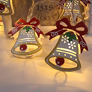 Lvydec Bell LED String Lights, Battery-Operated Christmas Decoravite Lights with 10 Lighted Bell, Indoor/Outdoor Use for Winter Festival Xmas Tree Decor