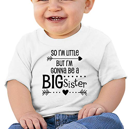 Huahai Child Short Sleeve Im Little, But Im Going to Be a Big Sister Boys Camiseta para bebé Active Graphic Tee, blanco, 2T