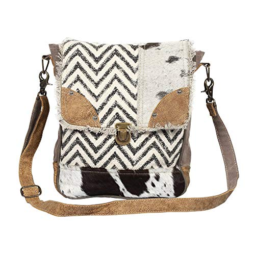 Myra Bag Rug & Patches Upcycled Canvas & Cowhide Shoulder Bag S-1370