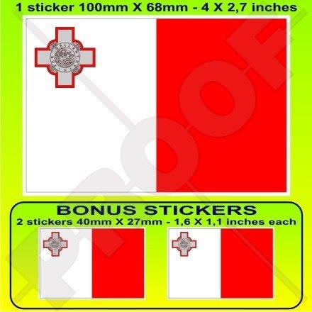 Malte maltais Drapeau 10,2 cm Bumper Sticker en vinyle (100 mm), en x1 + 2 Bonus