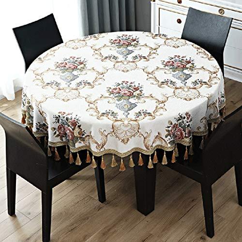 Tafelafdekking Bloemen Patroon Jacquard tafelkleed met Tassel Tafellaken Keuken Eettafel Decoration (Color : White, Size : 280cm round)