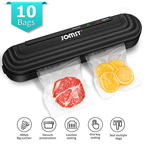 2 in 1 JOMST Vacuum Sealer Machine,Automatic Food Sealer Includes 10 Vacuum Bags for Kitchen Food Preservation with Multi-bag Sealing,Lossless Sealing,Vacuum and Single Seal Mode