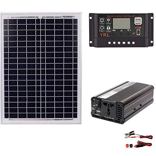 feiledi Trade Solarpanel-Set, AC 220 V, 1500 W, Solarmodul, Solarregler, Wechselrichter, 12 V, 24 V, 60 A, Solar-Controller, Wechselrichter, Solar-Regler, Wechselrichter, 12 V, 24 V, 60 A