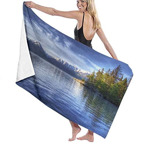SUHETI Toallas de baño,de Playa,Turnagain Brazo de la Ensenada de Cook Anchorage Fotografía idílica Junto al Lago,Muy Absorbente y Suave para Yoga, Fitness, Camping y Deportes al Aire Libre.