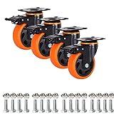 Ruedas resistentes con placa de acero y ruedas de goma duraderas para carros de transporte