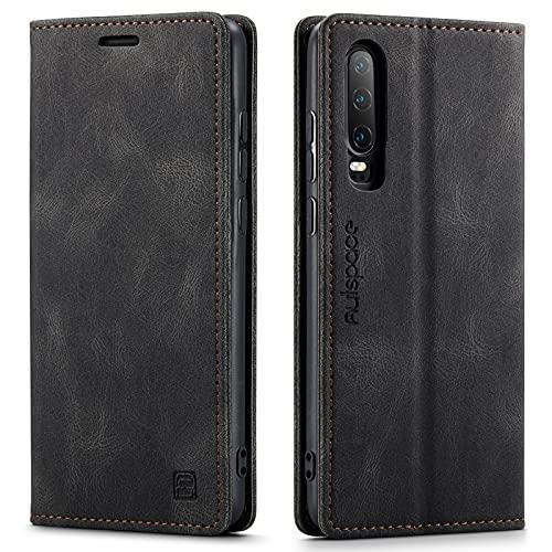 LOLFZ Funda para Huawei P30, estilo vintage, fina, de piel, con protección RFID, tarjetero, función atril, cierre magnético, compatible con Huawei P30, color negro