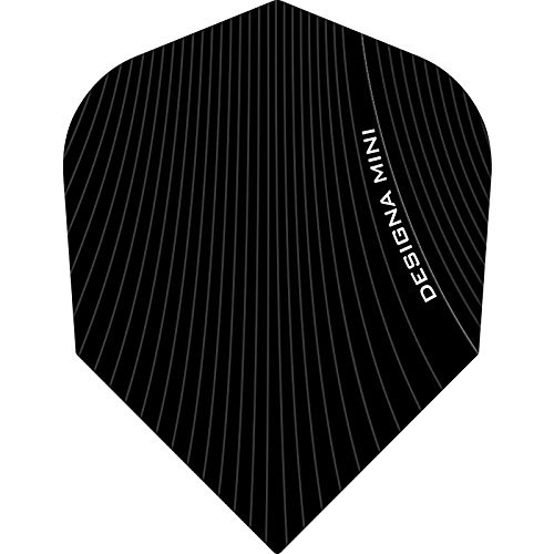 Designa Infusion Dart Flights–Mini Schwarz–5sets (15)–inklusive Darts Ecke gebogen Kugelschreiber