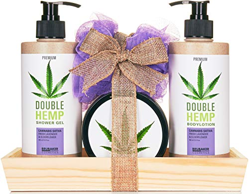 BRUBAKER Cosmetics Hanföl Dusch- und Pflege Set frischer Lavendel & Holunderblüten mit Deko Tablett aus Holz