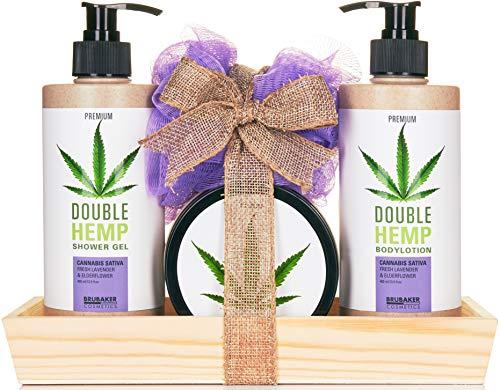 Preisvergleich Produktbild BRUBAKER Cosmetics Hanföl Dusch- und Pflege Set frischer Lavendel & Holunderblüten mit Deko Tablett aus Holz