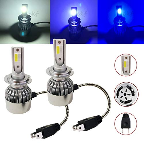 CK Formula (3 Colors in 1 Bulb) H7 6000K White 8000K 10000K Deep Blue Xenon COB LED (High Beam Headlight) 7600 LM 72W US
