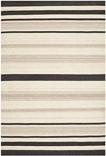 Safavieh Dhurrie Teppich, DHU629, Flachgewebter Wolle und Baumwolle, Natur / Grau, 120 x 180 cm