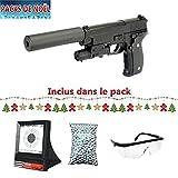 Galaxy Pack Cadeau De Noel Airsoft G26A Type P226 w/Silencieux Laser Full Metal à Ressort/Spring/Rechargement Manuel...