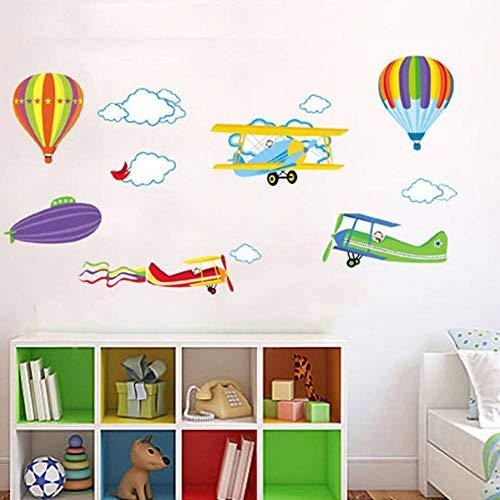 YSHUO Muursticker Verwijderbare Woonkamer Slaapkamer Kinderkamer Hot Air Balloon Vliegtuigen Stickers Luchtvaart Mobilisatie