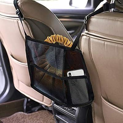 Car Net Pocket Handbag Holder, Car Backseat Organizer, Seat Back Organizer Mesh, XINHUACHEN Car Storage Netting Pouch, Used to Store Wallets and Document Bags(Black)