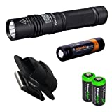 Fenix E35 Ultimate Edition (E35UE) 900 Lumen CREE XM-L2 U2 LED Flashlight with Holster, Genuine ARB-L2S 18650 3400mAh Li-ion Rechargeable Battery and Two EdisonBright CR123A Lithium Batteries