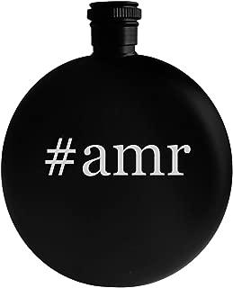 #amr - 5oz Hashtag Round Alcohol Drinking Flask, Black
